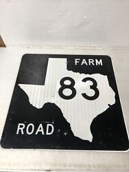 Authentic Retired Texas Farm Road 83 Highway Street Sign