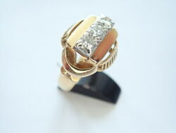 Bague Tank Or Diamants 1940-1950 Or 18 Carats 750/1000andegraveme 18k