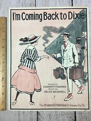 1917 Sheet Music Iand039m Coming Back To Dixie Train Station Art Cover First Release