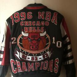 Nba Chicago Bulls Memorial Leather Jacket L Size Outerwear Rare