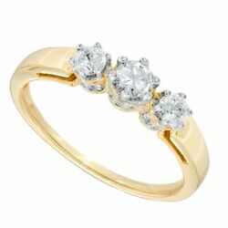 0.50 Ct Natural Diamond Three Stone Ring In Solid 10k Yellow Gold For Womenand039s