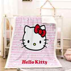 Cute Hello Kitty With Red Bow 3d Warm Plush Fleece Blanket Picnic Sofa Couch
