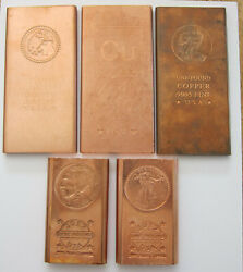 Lot Of 5 Each One Pound Copper .999 Fine And .9995 Total Of 5 Lb