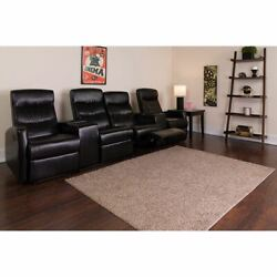 Anetos Series 4-seat Reclining Black Leathersoft Theater Seating Unit W/cup Hold