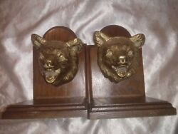 Rare Vintage Brass Bear Heads On Wood Book Ends Heavy