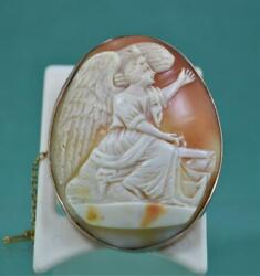 Antique Shell Cameo Brooch Fine Large 9 Ct Rose Gold And Safety Chain