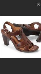 Born Strappy Buckle Leather Cushioned Comfort Heeled Slingback Sandal Brown 10