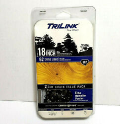 New Trilink S62 Replacement Saw Chain 18-inch Two-pack Fits Echo Poulan Homelite