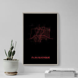 Albuquerque, New, Mexico, Usa Map Red Splatter - Art Print Poster Gift
