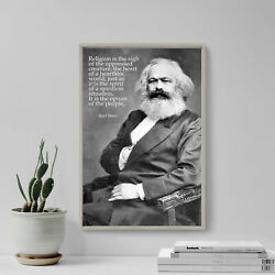 Karl Marx - Religion Is The Sigh Of The Oppressed / Bandw Photo - Poster Art Print