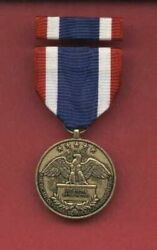 American Defense Commemorative Full Size Medal With Ribbon Bar Showing Eagle