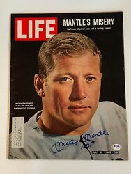 Mickey Mantle No 7 Signed Autograph July 30 1965 Life Magazine Misery Psa Dna