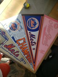 1973 Ny Mets Vintage Pennant Lot Plus 3 Others All Full Size 30