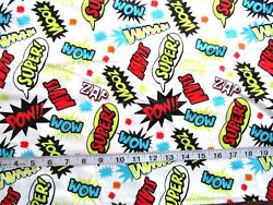 7/8 Yd X 42 Flannel Fabric White With Action Words Wow Zoom Slam Super Wooz