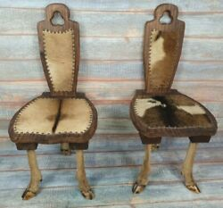 Pair Of Vintage Taxidermied Chamois Goat Hall Chairs