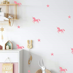 Pink Unicorn Wall Stickers for Girls Bedroom Pink Star Wall Stickers for for
