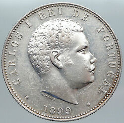 1899 Portugal King Carlos I Vintage Old Silver 1000 Reis Portuguese Coin I89202