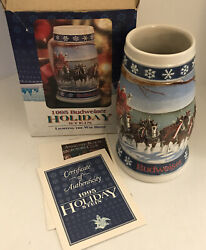 1995 Budweiser Holiday Stein Lighting The Way Home Nos Breweriana Collectible