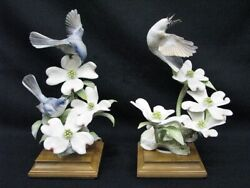 Pair Of Royal Worcester Dorothy Doughty Blue Grey Gnatcatcher 10.5 11/500