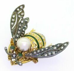 Antique 18k Gold 1.10ct Diamond Emerald 8.8mm Pearl Bee Fly Brooch