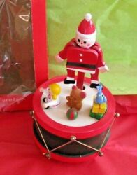 Wooden Santa Puppet On Drum Wind Up Musical Vintage Commodore Deluxe Decoration