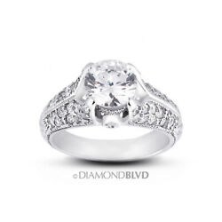 1.61 Ct G/si2 Round Natural Diamonds 14k Gold Vintage Style Engagement Ring
