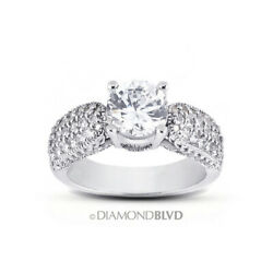 1.02 Ct D Si2 Round Natural Diamonds Platinum Vintage Style Accent Ring