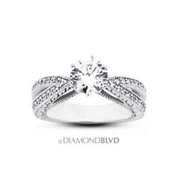 0.92 Ct F/vs2 Round Natural Diamonds 18k Gold Vintage Style Engagement Ring