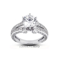 1.86 Ct H/si2 Round Natural Diamonds 14k Gold Vintage Style Accent Ring