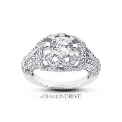 1.16 Ct G/si3 Round Natural Diamonds 18k Gold Vintage Style Side Stone Ring