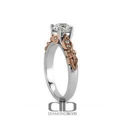 0.57 Ct D Vs1 Round Natural Diamonds 18k Gold Vintage Style Accent Ring