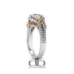 1.46 Ct H/si2 Round Natural Diamonds 14k Gold Vintage Style Accent Ring