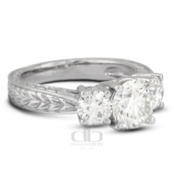 1.43 Ct G/si1 Round Natural Diamonds 14k Gold Vintage Style 3-stone Ring