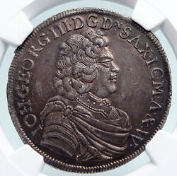 1690 Germany German States George Iii Saxony Silver Coin 2/3 Thaler Ngc I89604
