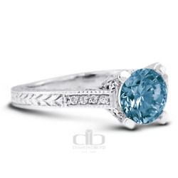 1.45 Ct Blue Si1 Round Natural Diamonds 14k Vintage Style Engagement Ring