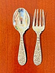 Rare Bridal Bouquet By Alvin Sterling Silver Baby Fork And Spoon Set 3 3/4 1935