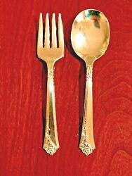 Damask Rose By Oneida Heirloom Sterling Silver Baby Child Fork And Spoon Set