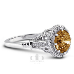 1.71 Ct Brown Si1 Round Natural Certified Diamonds 18k Gold Halo Engagement Ring