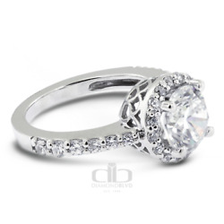 2.25ct Tw D Si2 Round Natural Certified Diamonds Platinum Halo Engagement Ring