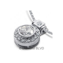 1.08ct Tw H Si1 Round Cut Earth Mined Certified Diamonds 14k Gold Halo Pendant