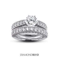 2.19 Ct G Vs2 Round Natural Diamonds 14k Vintage Style Ring With Wedding Band