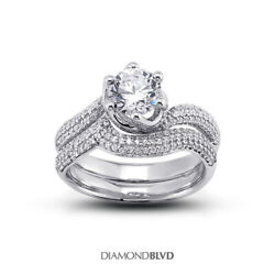 1.04 Ct G Vs2 Round Natural Certified Diamonds 18k Gold Ring With Matching Band