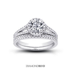 1.18 Ct I/vs2 Round Natural Certified Diamonds 14k Halo Ring With Wedding Band