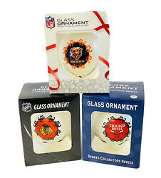 Chicago Sports Fan Collectible Glass Ball Ornament Set Blackhawks, Bears And Bulls