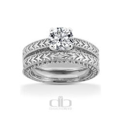 0.75ct H Vs2 Round Natural Diamond 18k Vintage Style Ring With Wedding Band