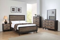 Contemporary Style King 4pc Bed Dresser Mirror Nightstand Bedroom Furniture Set