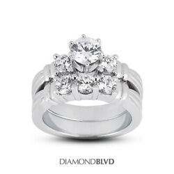 1.70 Ct E Si1 Round Natural Diamonds 14k Vintage Style Ring With Wedding Band