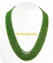 16-18 7 Strand Necklace Chrome Diopside 3-4mm Rondelle Faceted Gemstone Beads