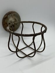 Antique Victorian Wall Mount Brass Soap Wire Dish Basket Sponge Holder Painted