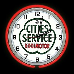 16 Cities Service Gas Oil Sign Red Double Neon Clock Man Cave Garage Station